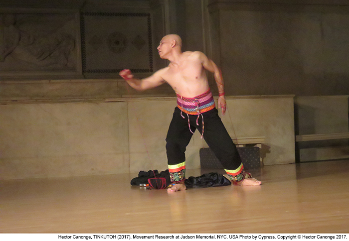 Hector Canonge, TINKUTOH (Performance, 2017) Movement Research, Judson Memorial Church, New York City, USA.